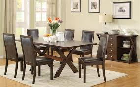 seven piece dining set: dobson  pc x base dining table set in deep oak finish by coaster