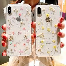 Прозрачный <b>чехол</b> с натуральным сухим цветком для iPhone 8 7 ...