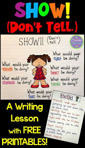 best images about writing type descriptive my third grade co teachers and i are super excited we recently did two minilessons on show don t tell in writing and we are already describing