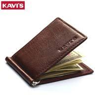 KAVIS Slim Brand Men <b>Women Genuine Leather</b> Bifold Male Purse ...