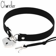 Chandler Heart Lock Velvet <b>Pu Leather</b> Choker Necklace <b>Gothic</b> ...