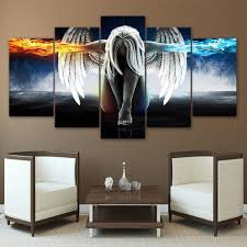 <b>5</b> Panel Framed Angel Fire & Ice Modern Decor <b>Canvas</b> Wall <b>Art</b> HD ...