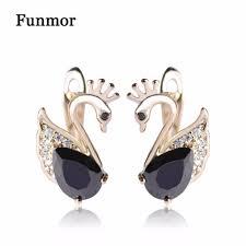 Funmor <b>Elegant</b> Black Swan Shape Copper Stud Earrings Animal ...
