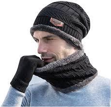 Men's Winter Beanie Hat <b>Scarf</b> Set <b>Collar</b> Set Plus Velvet <b>Thick</b> Knit ...