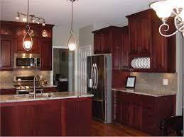 wonderful cherry kitchen cabinets round recessed lighting ceiling butcher block island side stainless steel backsplash lighting