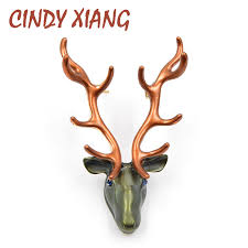 <b>CINDY XIANG 2 Colors</b> Choose Enamel Pin Reindeer Brooches ...