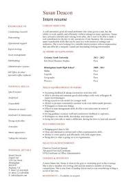 no work experience intern resume examples of resumes for internships