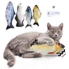20/30/40/60CM Electronic <b>Pet</b> Cat Simulation Fish Toy <b>USB</b> ...