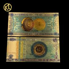 <b>10pcs</b>/<b>lot Gold Color</b> Foil One Bitcoin Money Banknote Not Currency ...