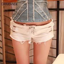 DANJEANER 2019 New Women Sexy Cut Off Low Waist Denim ...