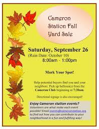 community yard postponed to 10 10 15 cameron station 2015 fall yard flyer 1