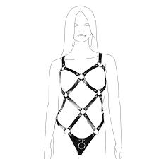 <b>Women's Sexy PU</b> Leather Full Body Strappy Bodysuit Set for Women
