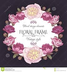 cute vintage floral card with a frame of peonies and persian buttercup beautiful wreath in beautiful shabby chic style