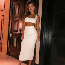 <b>Colysmo White Two Piece</b> Set Top And Long Skirt Sexy 2 Piece Set ...