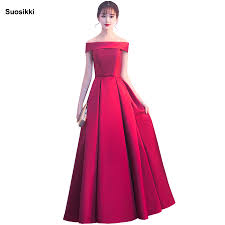 Suosikki <b>Simple</b> Long Evening Dress The Bride Banquet <b>Satin Boat</b> ...