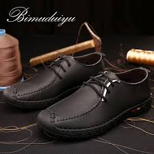 BIMUDUIYU Brand Daily Spring Summer Leather <b>Men's Soft Flat</b> ...
