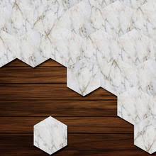 10pcs set white marble style lantern shape floor sticker adhesive waterproof wallpaper for livingroom bedroom home decoration
