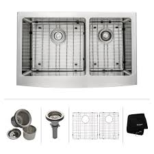 kraus 33 inch farmhouse double bowl stainless steel kitchen sink with noisedefend soundproofing apron kitchen sink kitchen