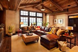 decoration style cowboy home decor fireplace western beach u shaped cream leather sofa coastal interior design round