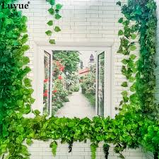 Rose Flowers <b>12 Pieces</b> Ivy <b>Leaf</b> Garland <b>Plants</b> Plastic Green long ...