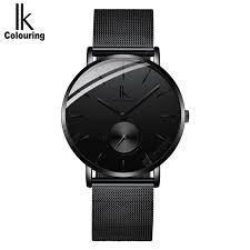 <b>IK mens mesh steel</b> belt ultra-thin leather fashion quartz watch mens ...