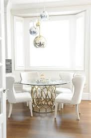 king dining table white glass gorgeous dining room features staggered brass glass and chrome pendant
