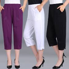 summer straight calf length pants embroidery mens elastic waist large size