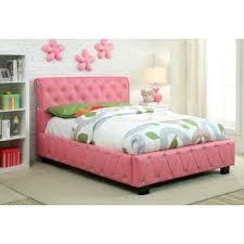 piece emmaline upholstered panel bedroom: furniture of america emmaline pink leatherette platform bed with bluetooth speakers