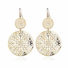 <b>Fashion temperament</b> metal <b>round</b> hollow gold skein pearl drop ...