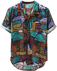 Men's Hawaiian Shirts Floral Colorful Printing Turn ... - Amazon.com