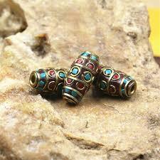 <b>3Pcs</b> Nepal Macroporous Brass Mosaic Turquoise Spaced <b>Beads</b> ...