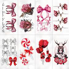 Red pink bow rose Waterproof Temporary Tattoo Sticker for <b>Adults</b> ...
