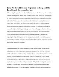 early modern ethiopian migration to italy and the question of    early modern ethiopian migration to italy and the question of european racism essay example