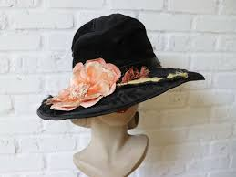 1910s Edwardian <b>Velvet Hat</b> Antique Flower Black Pink Orange ...
