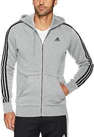 adidas Men's <b>Essentials</b> 3-Stripe <b>Full Zip</b> Fleece <b>Hoodie</b>: Amazon.co ...