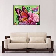 butterfly flower diy diamond painting flower full round daimond embroidery