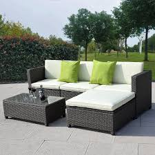 patio slab sets: paver cheap patio floor ideas with white padded rattan chairs two light green pillows rectangle