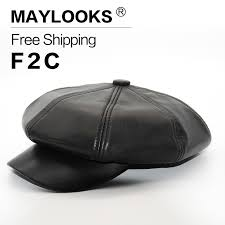 2018 Patchwork Unisex Maylooks <b>Genuine Leather</b> Men's Berets ...