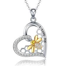 "<b>STROLLGIRL</b> | <b>Sterling Silver</b> ""I Love You"" Heart with Gold Bee ..."