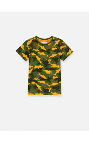 <b>Camouflage</b> printed T-shirt with <b>two</b>-<b>tone</b> sleeves, SINSAY, YL407-22X