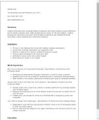 professional horticulture and landscape design templates to    resume templates  horticulture and landscape design
