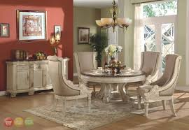 Traditional Dining Room Tables Halyn Round Traditional Antique White Formal Dining Room Set