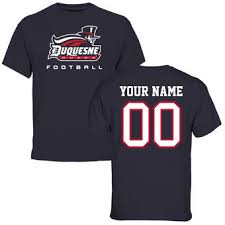Duquesne Dukes Personalized Football T Shirt   Navy