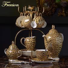 Leopard Print <b>Bone China Coffee</b> Set Luxury Porcelain <b>Tea</b> Set ...