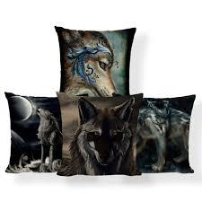 <b>Wolf</b> Lion <b>Cushion</b> Cover Animal Moon Pillowcase Red Nautical Car ...