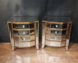 pair mirrored deco bedside chests nightstands mirror furniture tables art deco mirrored furniture