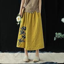 <b>Vintage Embroidery</b> Casual Linen Skirt <b>Women</b> Summer Loose ...