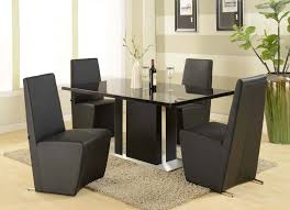 Set Of 4 Dining Room Chairs Brown Contemporary Ultra Modern Black Marble Dining Table With 4