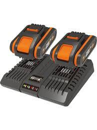 Комплект WORX WA3610 из двух <b>аккумуляторов 2 Ач</b> и двойного ...