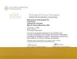 certifications affiliations metropolitan pathologists pc clia certificate · college of american pathologists